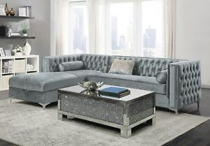 Details about CONTEMPORARY SILVER VELVET STORAGE SOFA SECTIONAL LIVING ROOM  FURNITURE SET SALE