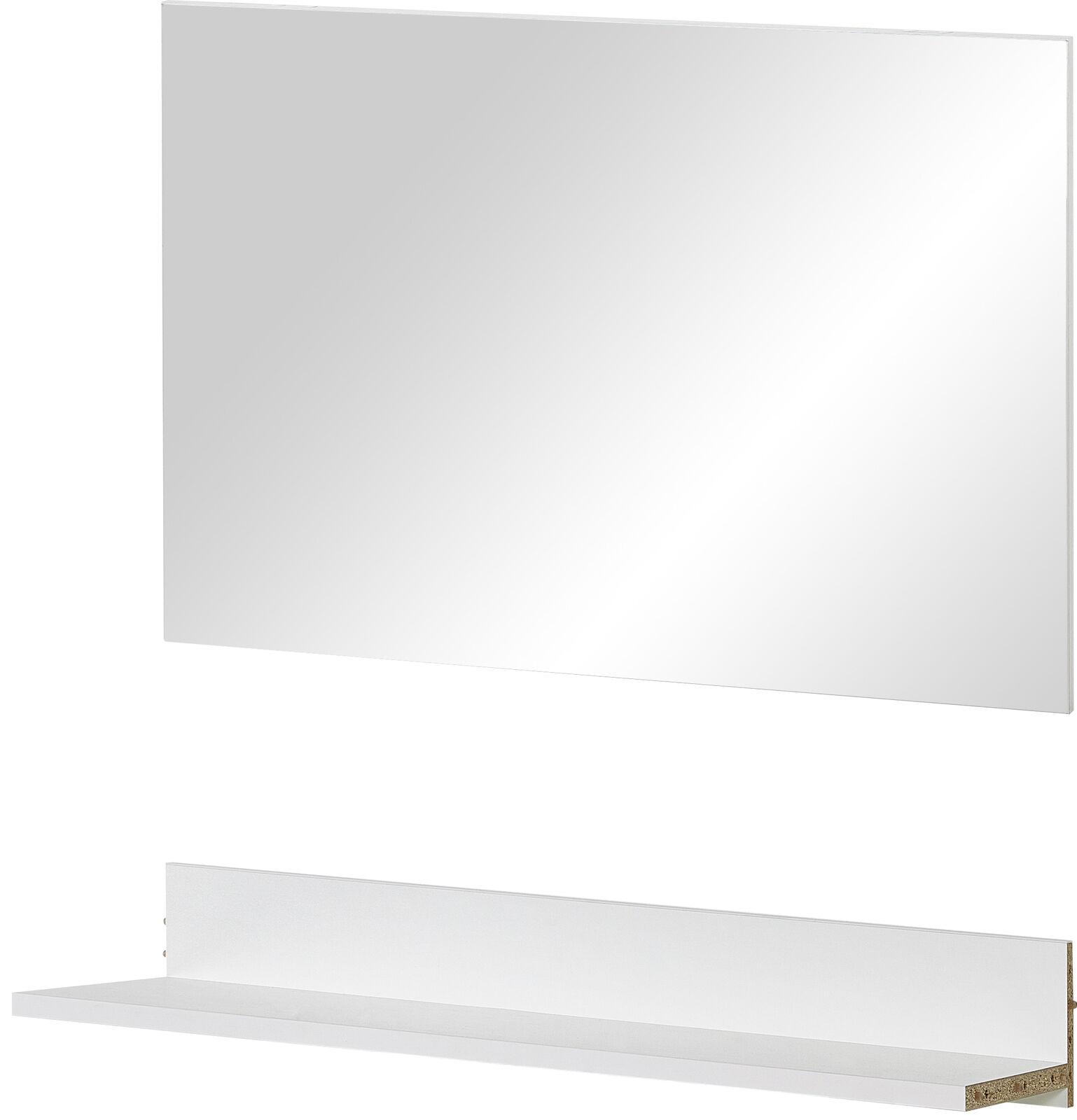 Spiegel + Ablage für Garderobe Kiel Flur Diele Wandspiegel Regal weiß