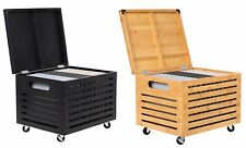Mobile File Storage Cabinet Bamboo Rolling Organizer Hinged Lid