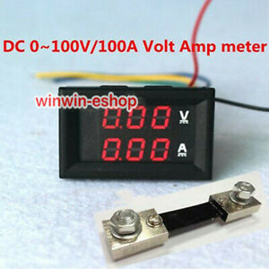 DC-100V-100A-Dual-LED-Digital-Voltmeter-Ammeter-Amp-Volt-Meter-Current-Shunt
