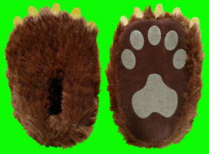 7806bac480e0 Children s Paw Slippers   Kids Grizzly Bear Paw With Soft Fabric ...