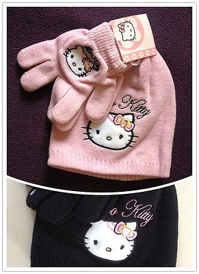 2019 Ultimo Disegno Hello Kitty Fille Accessoire Bonnet Gants 2 PiÈces Rose Noir 4011