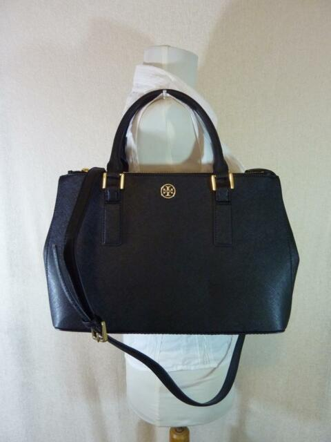 c1d1144347e9b Tory Burch Black Saffiano Leather Robinson Mini Double-Zip EW Tote -  475