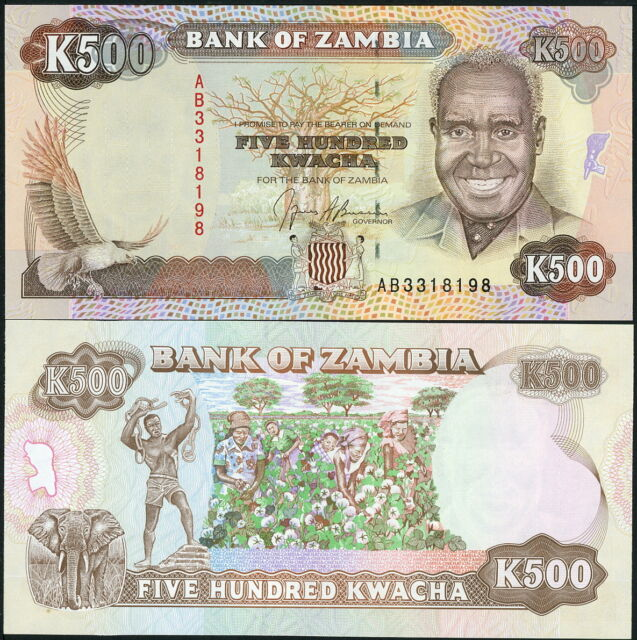 ZAMBIA COLORFUL 500 KWACHA CURRENCY BILL MONEY BANKNOTE P-35a c.1991, UNC!