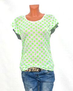 Damen-T-shirt-gepunktet-Bluse-Print-Bunt-oversize-Blogger-Italy-Top-Neon-19
