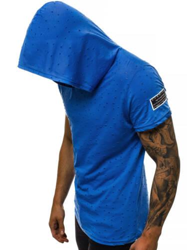 T-Shirt Kurzarm Shirt Aufdruck Slim Kapuze Sport Fitness OZONEE MAD//3069 Herren