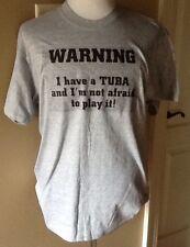 Warning Tuba Player Tee Large Short Sleeve Gray T-shirt NEW L Funny Band Shirt