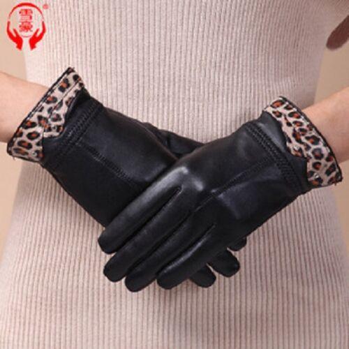 mitaines LADY fashion soft véritable cuir noir femme hiver chaud parti gants
