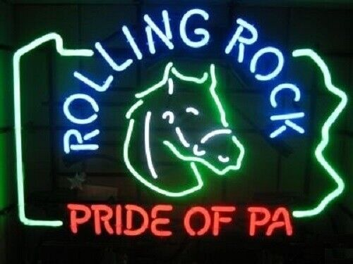 """Rolling Rock Pride Of PA Bar Lamp Glass Beer Neon Light Sign 20/""""x16/"""""""