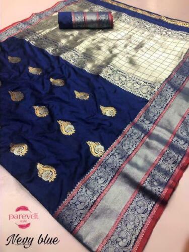 Indian Pakistani Sari Kanjivaram Silk Designer Wear Saree Blouse Party Fancy HR