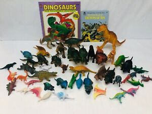 Plastic-Dinosaur-Toy-Lot-Some-Vintage-with-2-Children-039-s-Books-Pretend-Play-Set