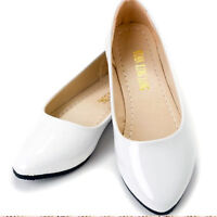 Women Slip On Ballet Dolly Ballerina Flat Pumps Patent Leather Casual Shoes Size