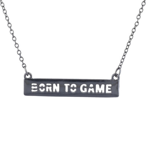 Lux Accessories Hematite Tone Cut Out Born To Game Video Games Bar Necklace