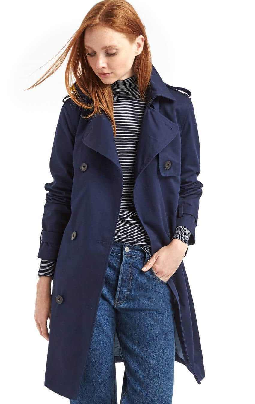 NWT Gap New Classic Trench Coat, True Indigo (Navy), sz Small, S   -