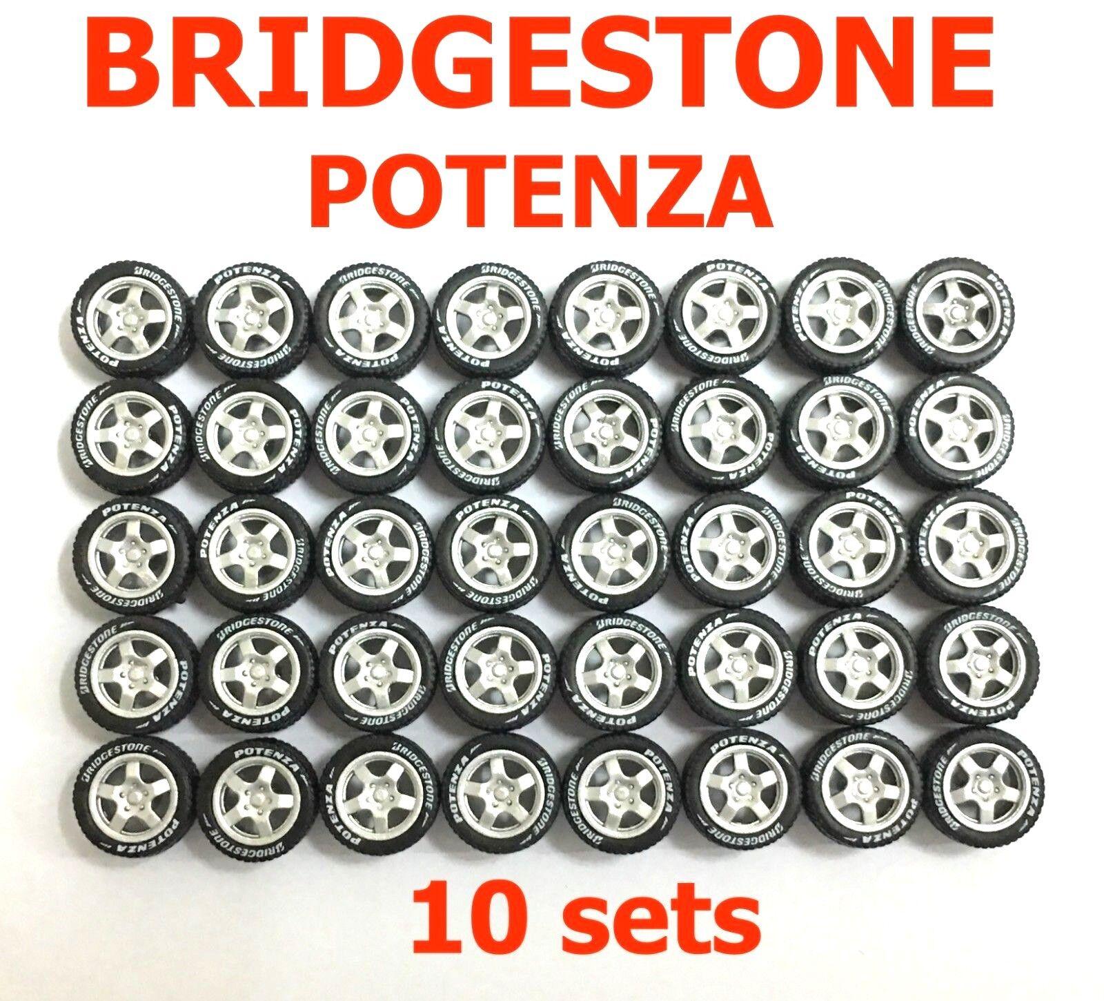 1 64 rubber tire - 5 spoke silver rim fit Hot Wheels Majorette diecast - R011-10