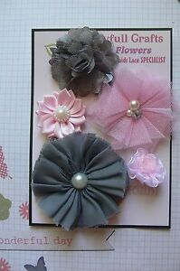 HANDMADE-5-Flower-GREY-amp-PINK-Tones-Mix-Organza-Lace-Satin25-75mm-NjoyfullCrafts