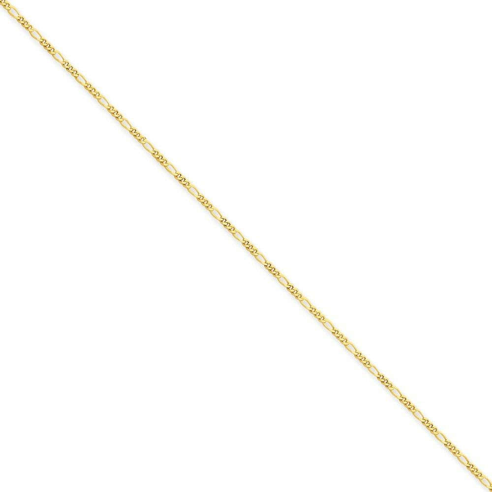 14kt Yellow gold 1.25mm Flat Figaro Chain Bracelet; 7 inch