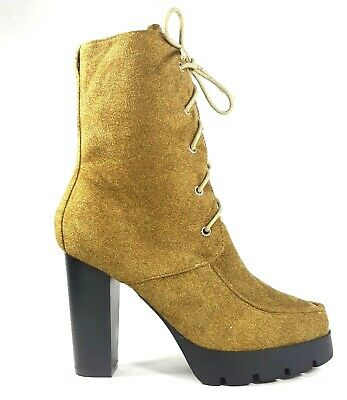 Cape Robbin DUAL Olive Faux Suede Pointy Peep Toe Ankle Bootie Stack Block Heel