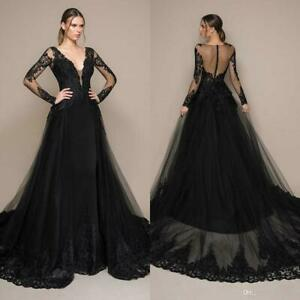 Black Lace Tulle Ball Evening Gown Women Long Pageant Party Celebrity Prom Dress Ebay