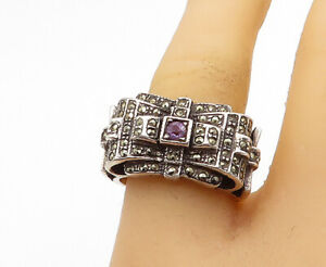 925-Silver-Vintage-Victorian-Amethyst-amp-Marcasite-Band-Ring-Sz-8-R16571