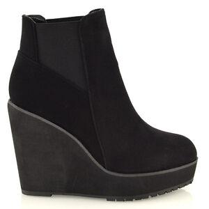 Dettagli su da donna zeppa tacco Chelsea Chunky Cleated plateau stivaletti scarpe taglia