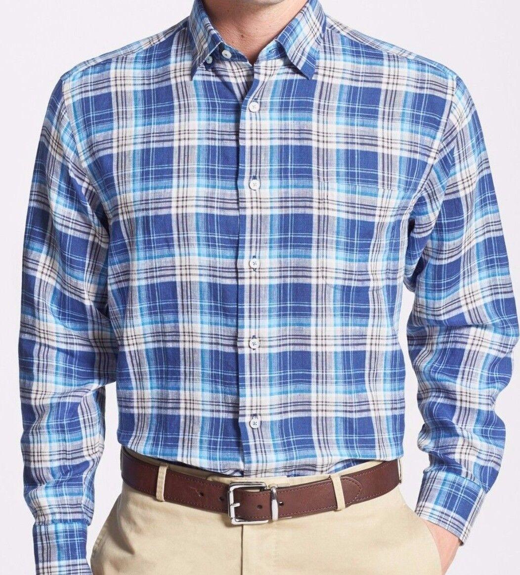 ROBERT TALBOTT XL Regular Fit Anderson bluee Plaid Men's Shirt