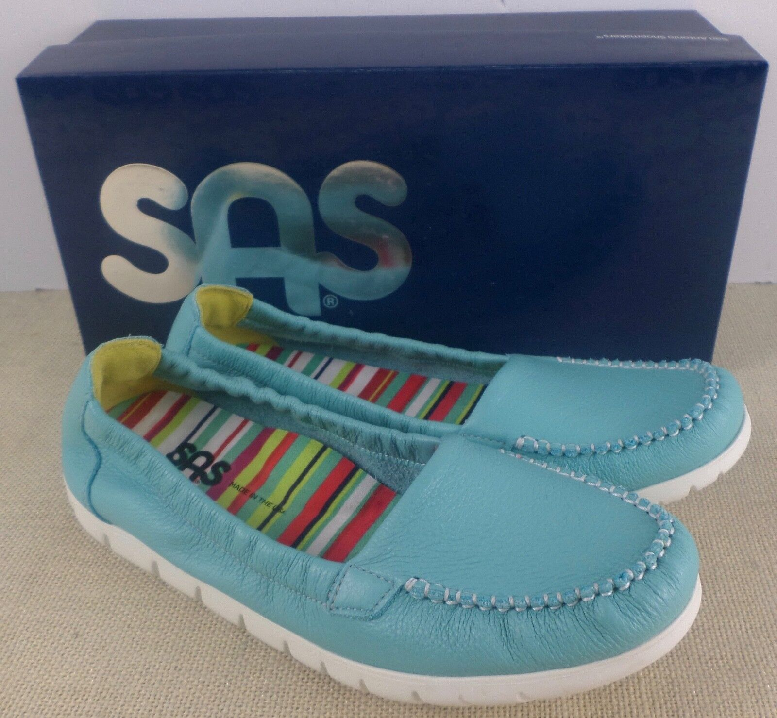 SAS SUNNY TEAL WOMEN'S SLIP ON MOCCASIN SHOES NEW IN BOX MADE IN USA