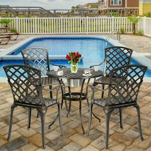 Details About European Style Cast Outdoor Aluminum Dining Set Of 2 Patio  Bistro Chairs Table