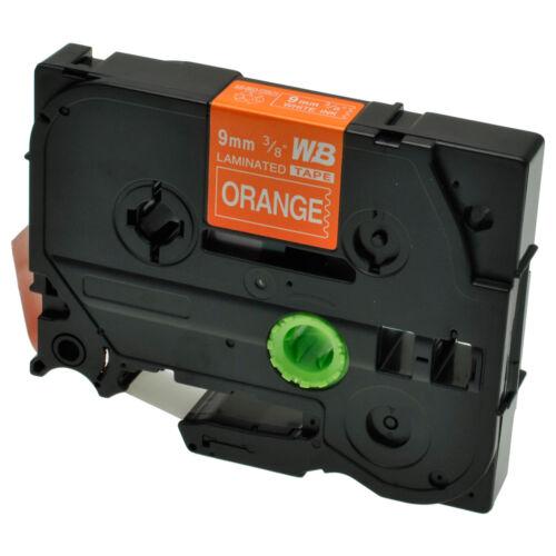 Schriftband für Brother P-Touch TZE-625 8m//9mm Weiß auf Orange