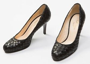 Women's Cole Haan Black Woven Leather Pumps High Heels Shoes Size Sz US 6 US6 B