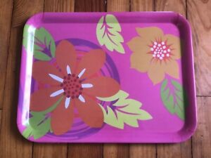 Pink-Melamine-Tropical-Flowers-Serving-TV-Rolling-Decor-Tray-By-Gourmet-Home-P