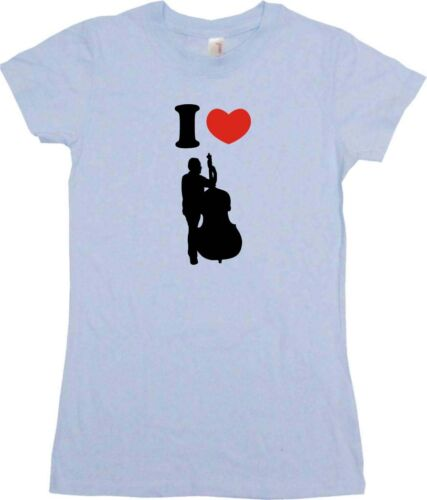 I Heart Love Upright Bass Player Womens Tee Shirt Pick Size Color Petite Regular