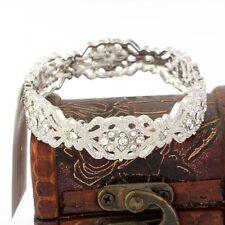 Bracelet Elastique Argenté Art Deco Cristal Vintage Mariage Original CT3