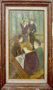 tableau-huile-toile-Scene-de-bar-signee
