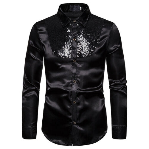 2020 Men Formal Satin Shiny Silk Wedding Dress Shirt Slim Long Sleeve T-shirt