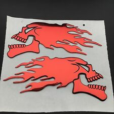 Flaming Skull Skeleton Emblems Badge Decal Harley Honda Tank Fairing Red