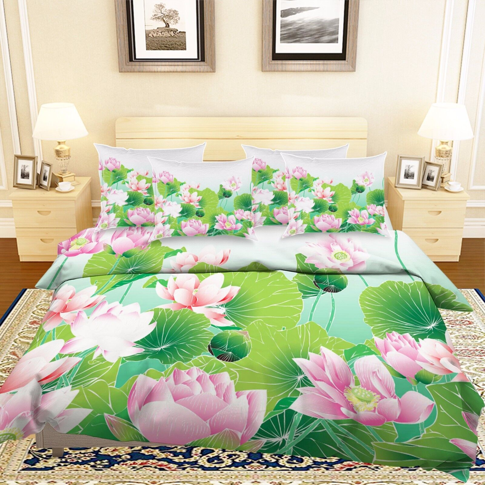 3D Pink Lotus Pond 7 Bed Pillowcases Quilt Duvet Cover Set Single Queen AU Lemon