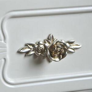Image Is Loading Antique Silver Rose Flower Handle Cabinet Drawer Wardrobe