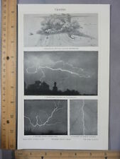 Rare Antique Original VTG Weather Lightning Bolt 4 Images Photogravure Art Print