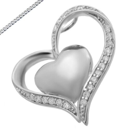 Anhänger Herz mit Zirkonia auch mit Kette in 925 Silber Kettenanhänger Neu
