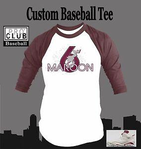 1ec7956b526 Pro Club Baseball Tee Shirt to match Air Jordan Maroon 6 Shoe Mens ...