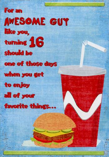 16th Birthday Card for Him Hamburger and Soda Designer Greetings Age 16