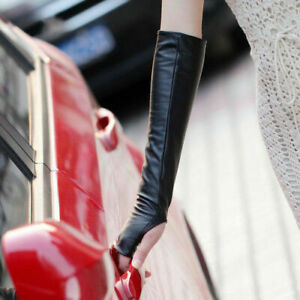 Ladies-Fingerless-Synthetic-Leather-Long-Sleeve-Elbow-Driving-Gloves-Women