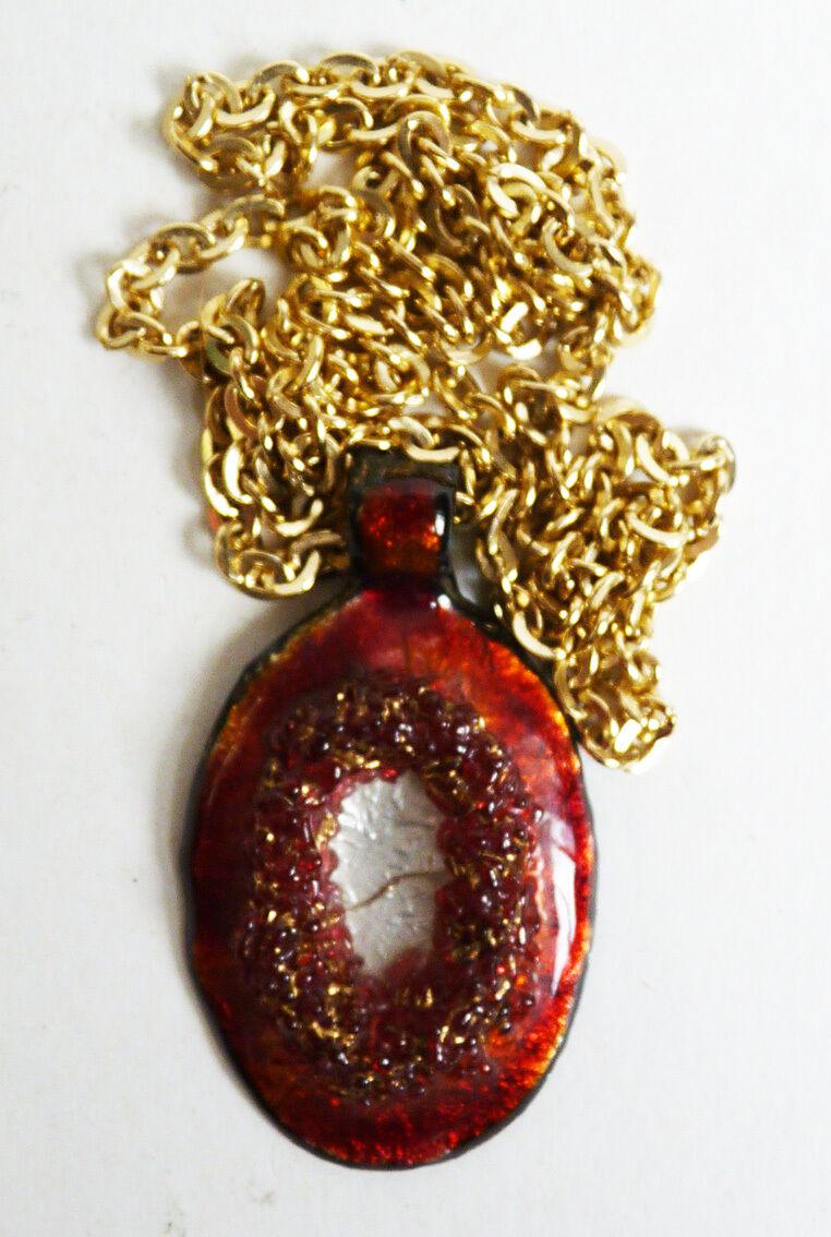 Collier pendentif en émail de Limoges bijou ancien style de Camille FAURÉ