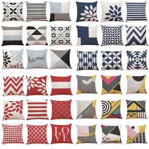 Raya-geometrica-de-algodon-cubierta-Cojin-Almohadon-Funda-Cintura-Tiro-Decoracion-Hogar-Sofa