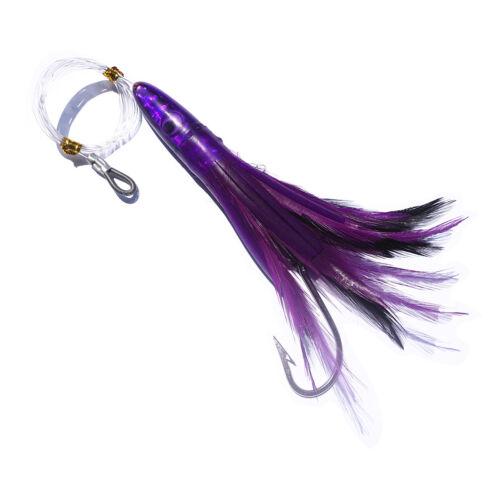 "5pcs 6/"" Trolling Feather Tuna Lure Saltwater Skirt Wahoo Dolphin Big Game Marlin"