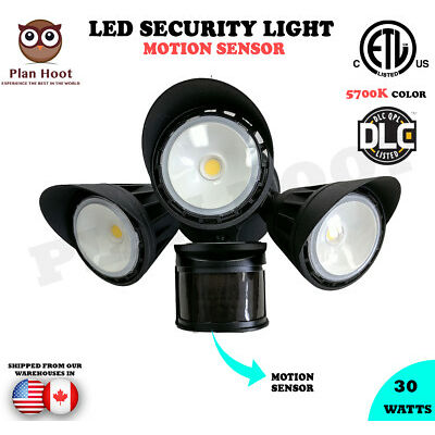 30W ETL DLC LED Motion Sensor Security Outdoor Light Walls Garage Commercial use