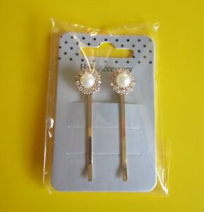 PACK-OF-2-HAIR-PINS-Wedding-Bridal-Gold-Pearl-Glass-Crystal-Clips-Slides-Grips