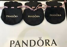 3 Pandora Gift Bags Black Velvet Jewelry Pouch Charms Ring Earrings Anti Tarnish
