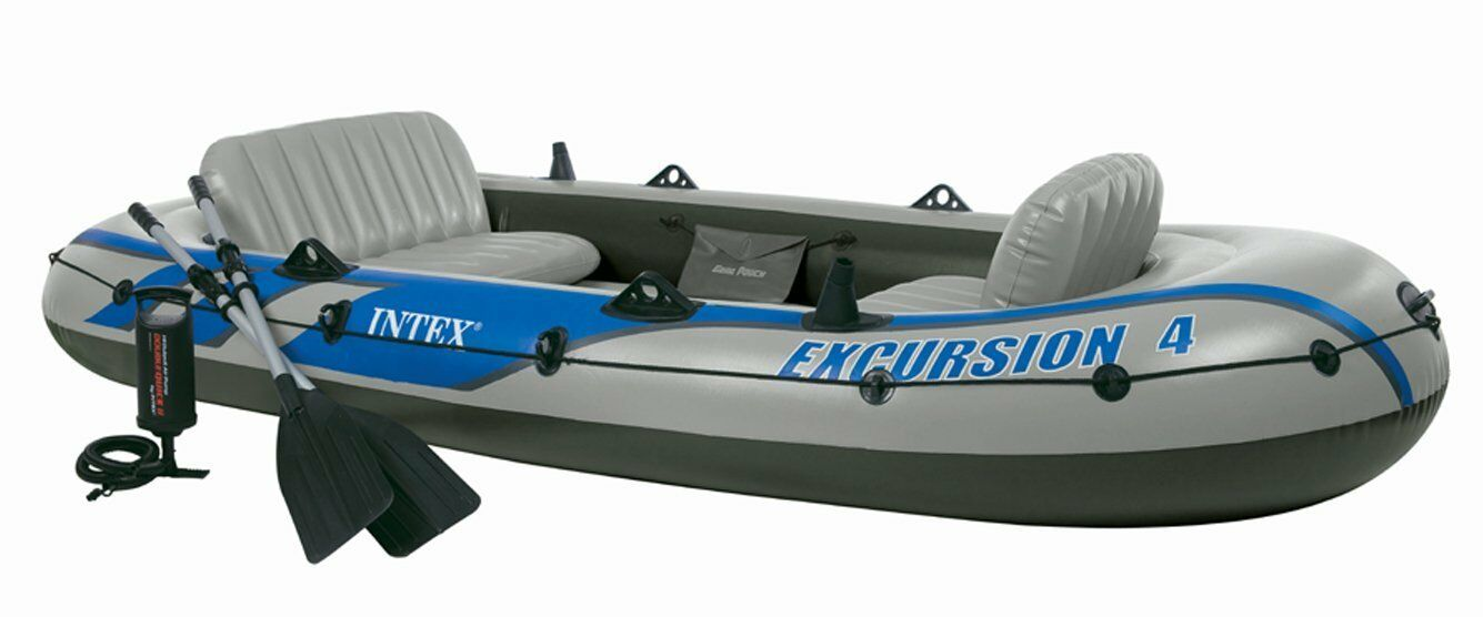 2019 Model Intex Excursion 4 Man Inflatable Dinghy Boat + Oars + Pump